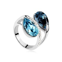 Unique Platinum Plated With Rhinestone Ladies' Rings