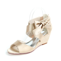 Women's Satin Sandals With Bowknot