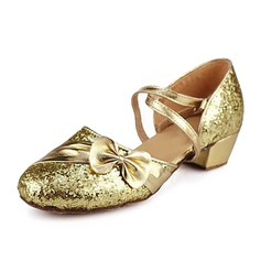 Kids' Sparkling Glitter Sandals Latin Modern Ballroom With Bowknot Dance Shoes