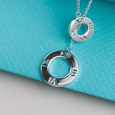 Personalized Ladies' Chic 925 Sterling Silver With Round Engraved Necklaces Necklaces For Bridesmaid/For Friends