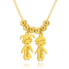 Custom 18k Gold Plated Silver Engraving/Engraved Two Family Necklace With Kids Names - Birthday Gifts Mother's Day Gifts