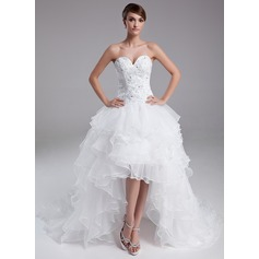 A-Line/Princess Sweetheart Asymmetrical Organza Prom Dresses With Beading Cascading Ruffles
