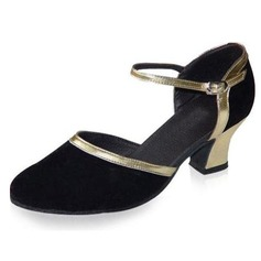 Women's Leatherette Nubuck Heels Pumps Ballroom With Buckle Dance Shoes