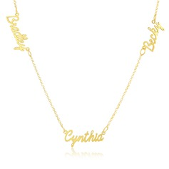Custom 18k Gold Plated Silver Three Name Necklace With Kids Names - Birthday Gifts Mother's Day Gifts