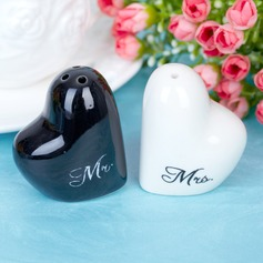 """Mr. & Mrs."" Heart Shaped Ceramic Salt & Pepper Shakers"