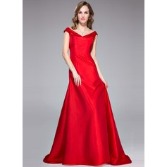 Trumpet/Mermaid Off-the-Shoulder Sweep Train Taffeta Evening Dress