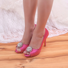 Women's Satin Peep Toe With Rhinestone