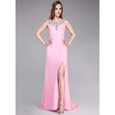 A-Line/Princess Scoop Neck Sweep Train Chiffon Prom Dress With Beading Split Front