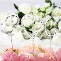 Cake Jewelry Monogram/Heart Ceramic/Czech Stones Wedding Cake Topper (3 Pieces)