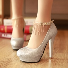 Women's Sparkling Glitter Stiletto Heel Closed Toe Pumps With Rhinestone Braided Strap (047121109)
