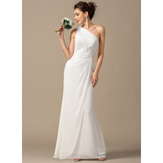 Sheath/Column One-Shoulder Floor-Length Chiffon Wedding Dress With Ruffle