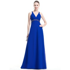 Empire V-neck Floor-Length Chiffon Evening Dress With Ruffle Beading Sequins