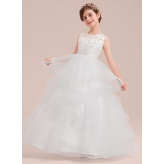 Ball Gown Floor-length Flower Girl Dress - Satin/Tulle/Lace Sleeveless Scoop Neck