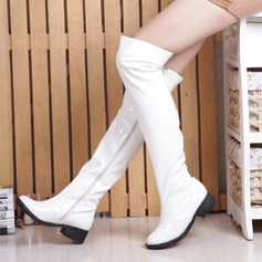 Women's Patent Leather Low Heel Closed Toe Boots Knee High Boots Over The Knee Boots Riding Boots With Zipper shoes
