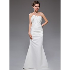 Trumpet/Mermaid Sweetheart Floor-Length Satin Wedding Dress With Ruffle Beading Flower(s)