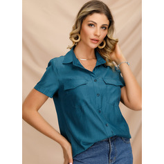 Short Sleeves Polyester Lapel Shirt Blouses Blouses (1003223607)
