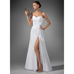Sweetheart Floor-Length Chiffon Evening Dress With Ruffle Split Front (271194185)