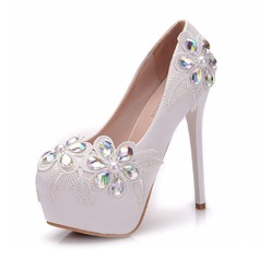 Women's Leatherette Spool Heel Closed Toe Platform With Applique Crystal