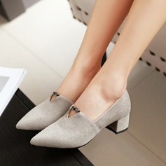 Women's Suede Chunky Heel Pumps Closed Toe With Chain shoes