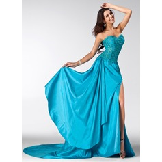 A-Line/Princess Sweetheart Court Train Taffeta Prom Dress With Beading Sequins Split Front