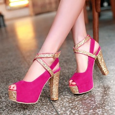 Women's Suede Chunky Heel Sandals Pumps Platform Peep Toe With Sparkling Glitter Buckle Jewelry Heel shoes (085124490)