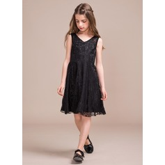 A-Line/Princess V-neck Knee-Length Lace Junior Bridesmaid Dress