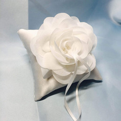 Floral Design Cloth Ring Pillow With Ribbons/Artifical Flower