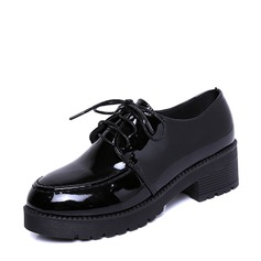Women's Patent Leather Low Heel Platform Closed Toe With Lace-up shoes