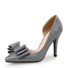 Women's Leatherette Stiletto Heel Pumps Closed Toe With Bowknot shoes (085147462)
