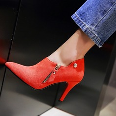 Women's Suede Stiletto Heel Pumps Closed Toe With Zipper shoes