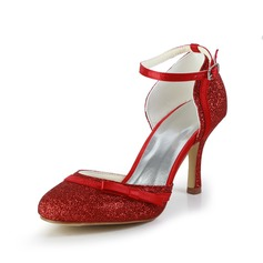 Women's Sparkling Glitter Stiletto Heel Closed Toe Sandals With Bowknot Buckle