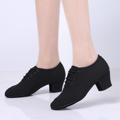 Women's Fabric Flats Modern Swing With Lace-up Dance Shoes