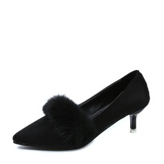 Women's Suede Stiletto Heel Pumps Closed Toe With Fur shoes