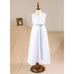 A-Line/Princess Floor-length Flower Girl Dress - Satin Sleeveless Scoop Neck With Sash/Bow(s)