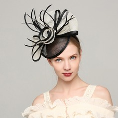 Signore Elegante Cambrì/Piuma con Piuma Fascinators/Kentucky Derby Hats/Cappelli da Tea Party