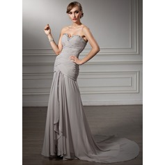 A-Line/Princess Sweetheart Court Train Chiffon Mother of the Bride Dress With Ruffle Beading Cascading Ruffles
