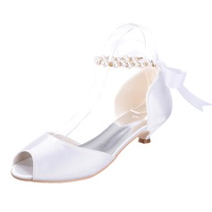 Women's Satin Kitten Heel Peep Toe Sandals With Imitation Pearl Lace-up (273202765)