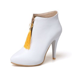 Women's PU Stiletto Heel Pumps Ankle Boots With Zipper Tassel shoes