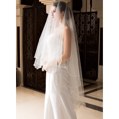 One-tier Waltz Bridal Veils With Pencil Edge