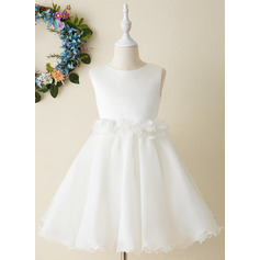 Knee-length Flower Girl Dress - Organza Sleeveless Scoop Neck With Flower(s) Bow(s) (269246128)
