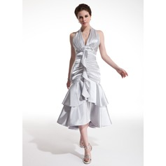 A-Line/Princess Halter Tea-Length Charmeuse Cocktail Dress With Beading Cascading Ruffles