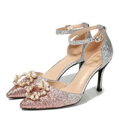 Women's Sparkling Glitter Spool Heel Closed Toe With Imitation Pearl Crystal
