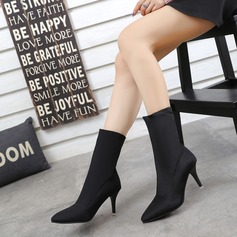 Women's Fabric Stiletto Heel Pumps Boots Mid-Calf Boots With Others shoes