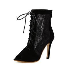 Donna Camoscio Pizzo Tacco a spillo Stiletto Stivali Punta aperta Stivali alla caviglia con Cerniera Allacciato scarpe