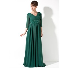 Empire V-neck Sweep Train Chiffon Holiday Dress With Ruffle Beading Sequins (020036590)