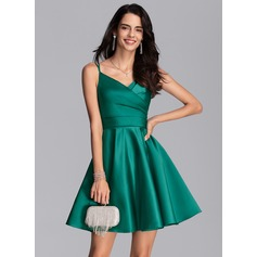 A-Line V-neck Short/Mini Satin Cocktail Dress With Ruffle Pockets (270233344)