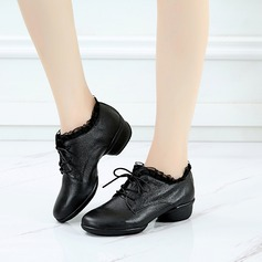 Women's Real Leather Lace Sneakers Jazz Dance Shoes