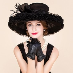 Ladies' Glamourous Organza With Feather Floppy Hat (196091599)