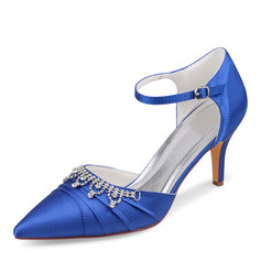 Women's Silk Like Satin Stiletto Heel Closed Toe Pumps With Buckle Crystal