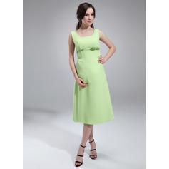 A-Line/Princess Scoop Neck Knee-Length Chiffon Maternity Bridesmaid Dress With Sash Bow(s) (045004418)